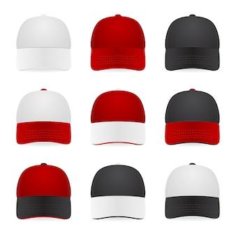 흰색, 빨간색 및 검은 색의 2 색 캡 세트. 삽화.