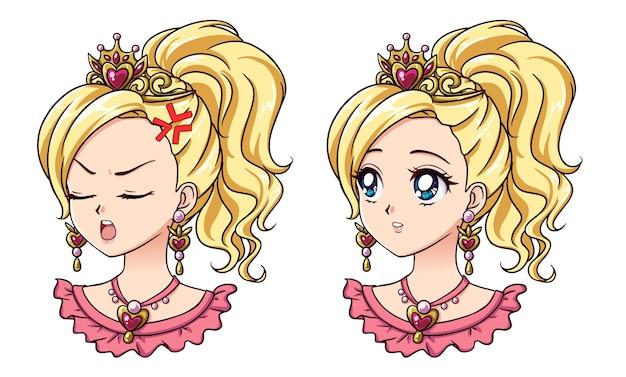 2つのかわいいアニメの王女の肖像画のセット。 2つの異なる表現。 90年代のレトロなアニメスタイルの手描きのベクトルイラスト。孤立。