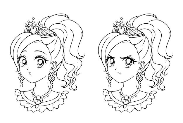 2つのかわいいマンガ姫の肖像画のセット。 2つの異なる表現。 90年代のレトロなアニメスタイルの手描きベクトル輪郭イラスト。孤立。
