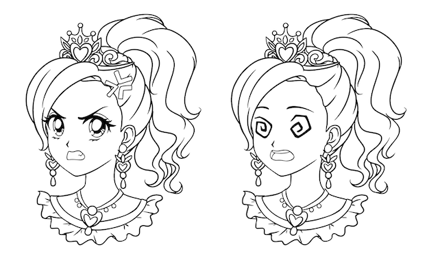 두 개의 귀여운 만화 공주 초상화의 집합입니다. 두 가지 다른 표현.
