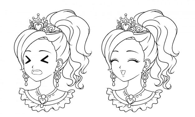 Набор из двух милых портретов принцесс манги.