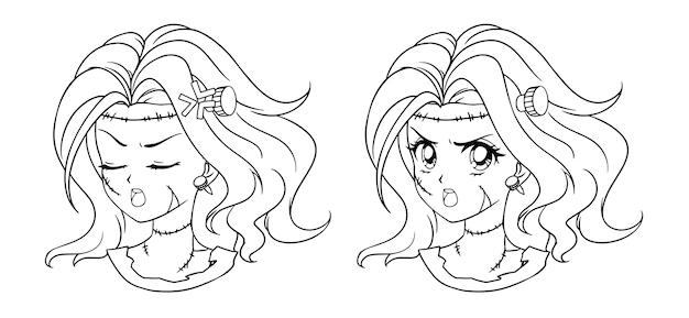 2つのかわいいマンガゾンビの女の子の肖像画のセット。 2つの異なる表現。