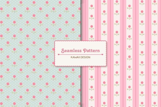 두 개의 편집 가능한 로맨틱 패턴 세트