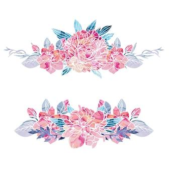 背景にアルコールインクの質感を持つ2つの花の花束のセット