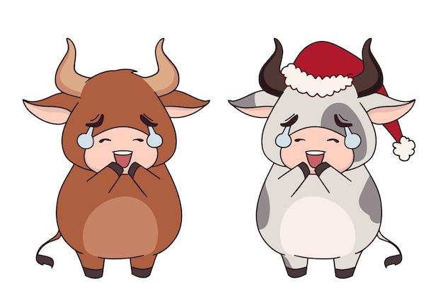 크리스마스 모자를 쓰고 두 재미있는 작은 암소 세트