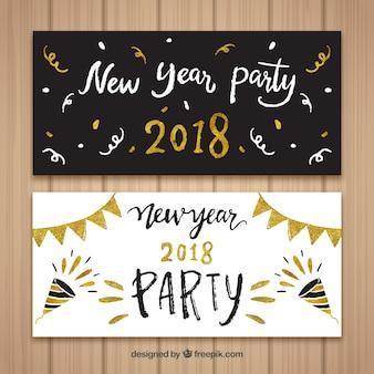 Набор из двух ручных черно-белых баннеров нового года