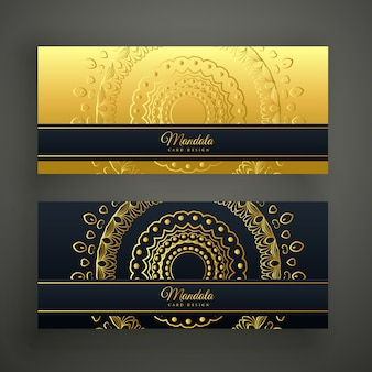 Set of two luxury mandala golden banners