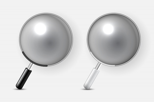 2つの虫眼鏡アイコンのセット