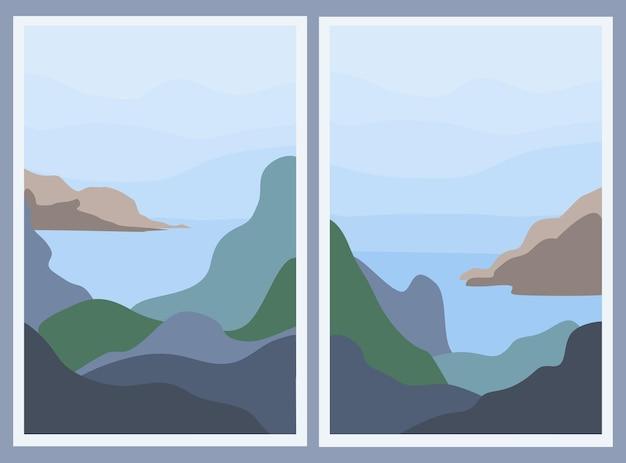 2つのミニマルな風景のセット。抽象的な山と海。