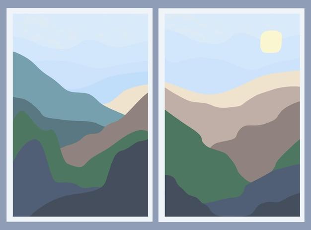 두 개의 최소한의 풍경 세트입니다. 추상 산과 하늘에 태양입니다. 세련된 배경