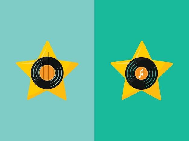 두 개의 음악 로고 별 세트