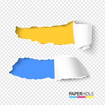 웹 배너에 대 한 립 가장자리와 두 개의 현실적인 밝은 찢어진 된 종이 구멍 세트
