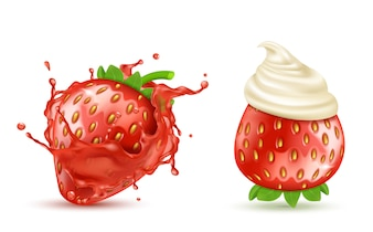Set of two red ripe strawberries with juicy splash and with whipped cream or icing, isolated