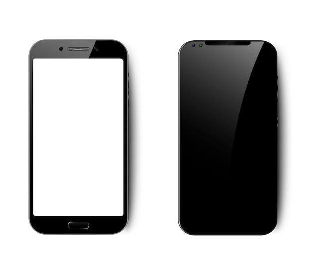 Набор из двух смартфонов с пустым черно-белым экраном, реалистичный черный смартфон