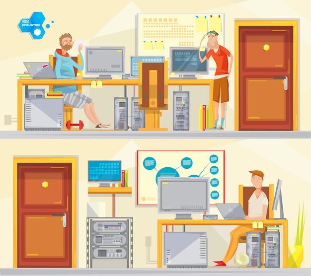 漫画ワーカーの文字を持つ2つのソフトエンジニアプライベートオフィスインテリア構成のセット