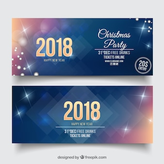 Set of two sparkly new year party banners