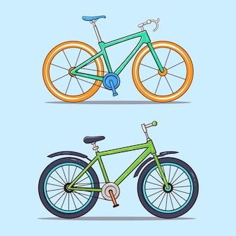 2つのスポーツ自転車イラストのセット