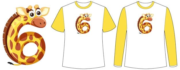 티셔츠에 숫자 모양 화면에 악어가있는 두 종류의 셔츠 세트