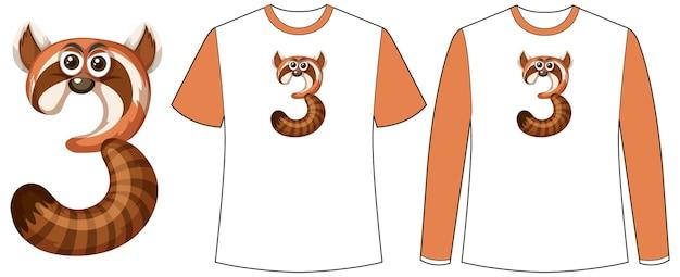 티셔츠에 숫자 3 모양 화면에 너구리와 함께 두 종류의 셔츠 세트
