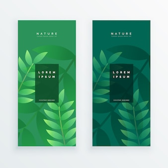 Set of two vertical leaves banner