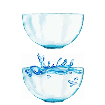 두 수채화 그릇 세트, 하나는 물