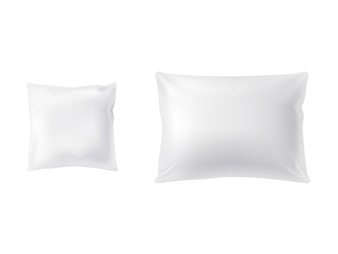 Set of two white pillows, square and rectangular, soft and clean