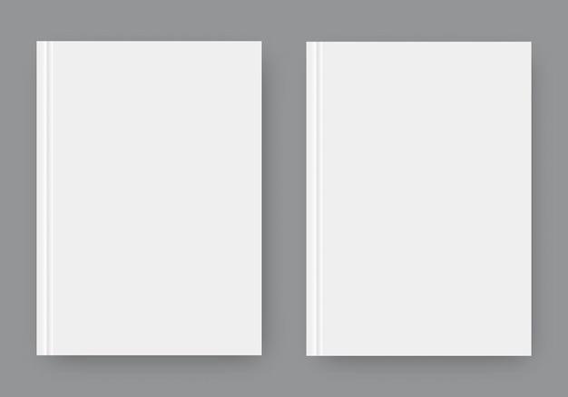 그림자가 있는 두 개의 흰색 현실적인 빈 페이지 세트. 디자인을 위한 템플릿을 조롱합니다. 프리미엄 벡터