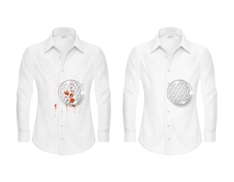 Set of two white shirts, clean and dirty, with magnifying glass showing fabric fiber