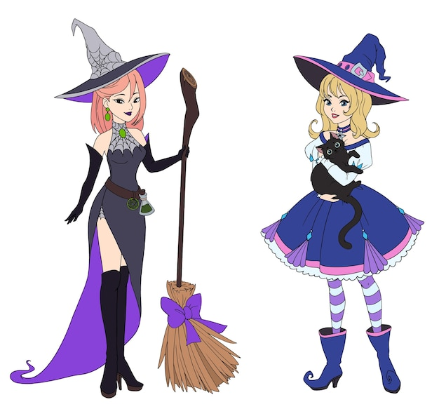 Набор из двух ведьм, держащих черную кошку и метлу.