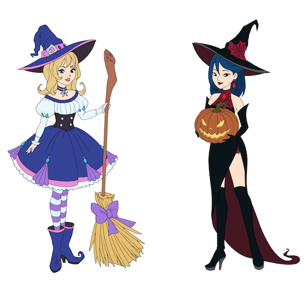 Набор из двух ведьм, держащих метлу и тыкву на хэллоуин.