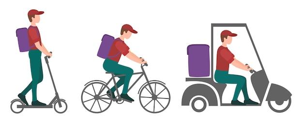 택배 유형 세트 패스트 푸드 배달 스쿠터 세발 자전거 및 자전거 택배