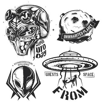 Ufo要素(エイリアン、空飛ぶ円盤、惑星など)のエンブレム、ラベル、バッジ、ロゴのセット。