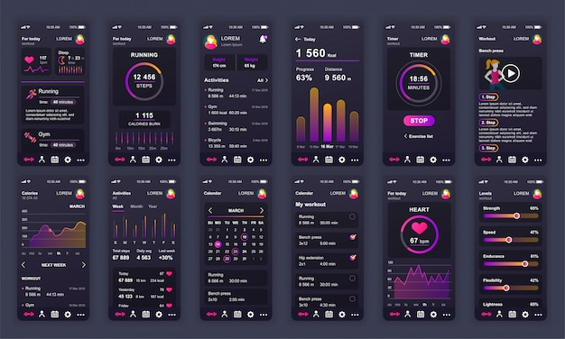 Набор экранов ui, ux, gui фитнес-приложение плоский