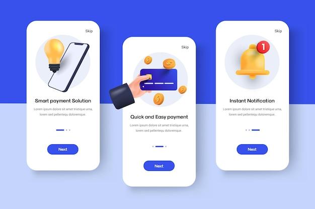 Набор экранов ui, ux, gui шаблон онлайн-платежного приложения для мобильных приложений, адаптивные каркасы веб-сайтов. комплект пользовательского интерфейса для веб-дизайна. интерактивные экраны для покупок в интернете. векторная иллюстрация 3d