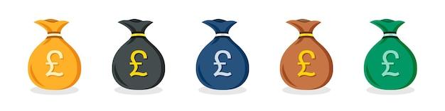평면 디자인에 다른 색상의 영국 파운드 돈 가방 아이콘 세트