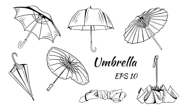 傘のセット。漫画のスタイル。さまざまな中国の傘