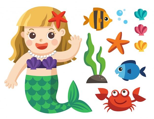 Under the seaコレクションのセット。人魚と白い背景の上の海の動物