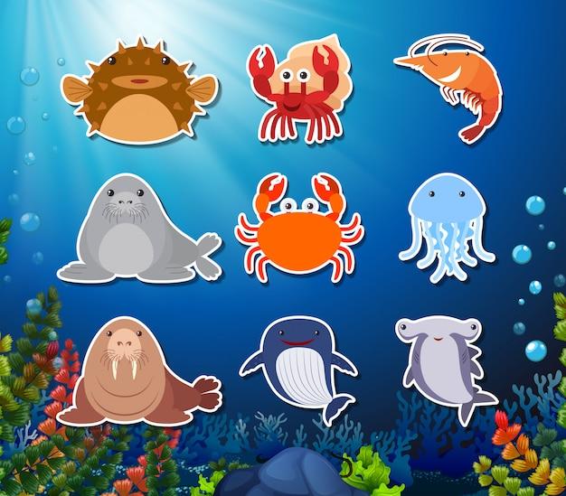 水中の生き物キャラクターのセット
