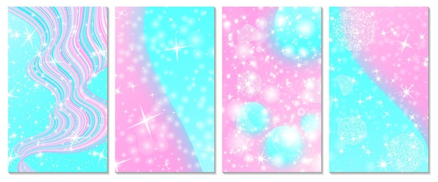 유니콘 무지개 배경 세트입니다. 핑크, 블루 색상입니다. 공주 배경, 초대 카드입니다.
