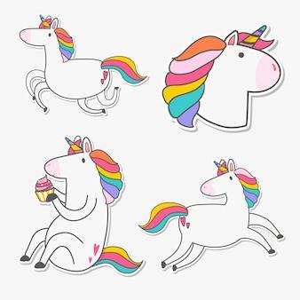 Set of unicorn stickers vector