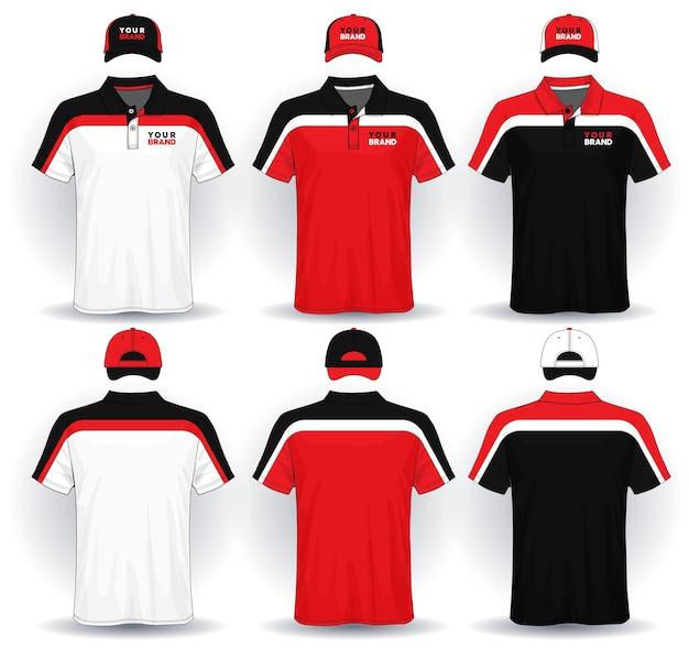 유니폼 템플릿, 폴로 셔츠와 모자 세트.