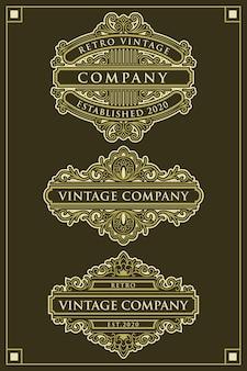Набор уникальных векторных винтажных логотипов орнаментов