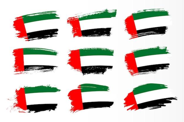 Набор флагов мазка кистью объединенных арабских эмиратов