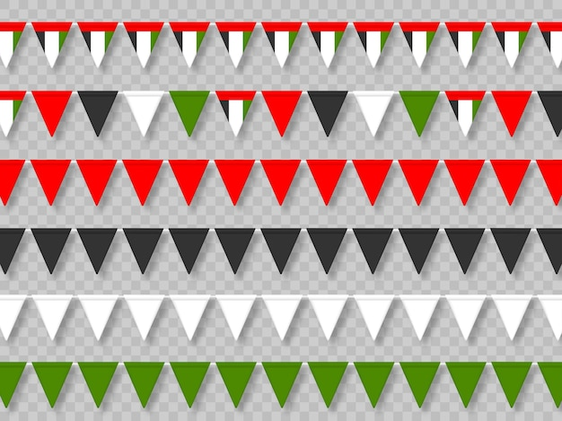 전통적인 색상에서 아랍 에미리트 연방 깃발 천 플래그의 집합입니다.