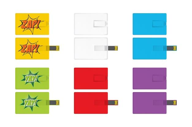 브랜딩 항목에 대 한 범용 직렬 버스 카드 템플릿 집합
