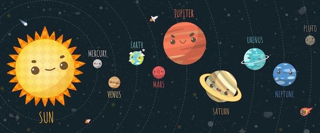 Набор вселенной, планеты солнечной системы и космического элемента на вселенной. векторные иллюстрации в мультяшном стиле.