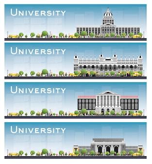 大学のキャンパス研究バナーのセット。ベクトルイラスト。学生は大学の本館に行きます。青い空と緑の木とスカイライン。コピースペース付きバナー。