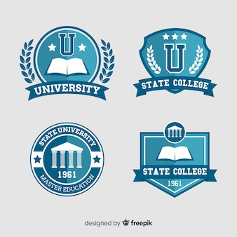 Набор университетских логотипов в плоском стиле