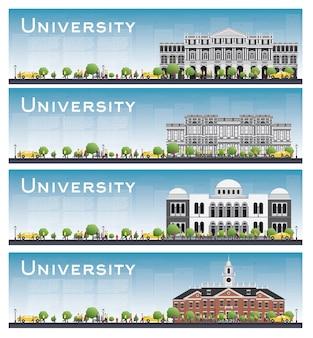 대학 연구 배너의 집합입니다. 삽화. 학생들은 대학 본관으로 이동합니다. 푸른 하늘과 녹색 나무와 스카이 라인. 복사 공간 배너.