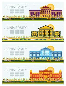 大学の研究バナーのセット。ベクトルイラスト。学生は大学の本館に行きます。青い空と緑の木とスカイライン。コピースペース付きバナー。